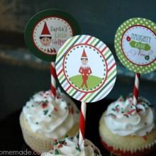 Printable Elf on the Shelf Cupcake Toppers